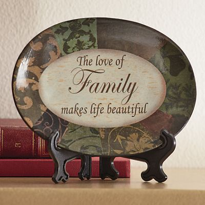 Love of Family Ceramic Plate with Stand