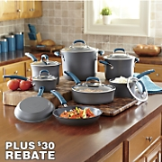 Rachael Ray 14-Piece Marine Blue Hard Anodized Nonstick Cookware Set