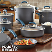 Rachael Ray 14-Piece Marine Blue Hard Anodized Nonstick Cookware Set