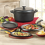 7 pc  pre seasoned cast iron fajita set