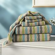 6 pc  spun cotton stripe towel set