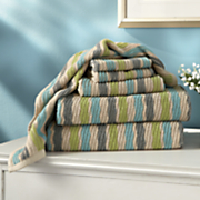 6 pc  spun cotton stripe towel set