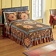 rustic harvest woven tapestry coverlet and sham