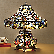 stained glass double lit roses lamp