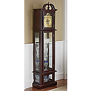 grandfather clock and lit curio