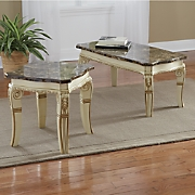 Hand-Carved Lillian Faux Marble Tables