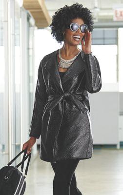 Deidra Faux Leather Coat