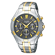 seiko men s two tone chrono watch