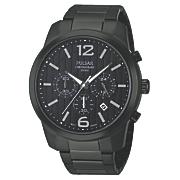 seiko men s black chrono watch