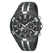 seiko men s two tone black chrono watch
