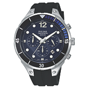seiko men s stainless steel black blue bezel chrono watch