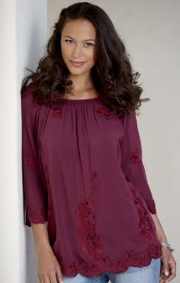 Embroidered Edge Top