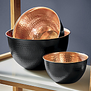 set of 3 black with copper interior mixing bowls