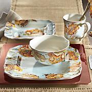 16 pc  gabrielle blue dinnerware set