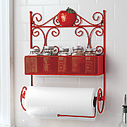 Apple Paper Towel Holder with Tear Bar & Spice Rack