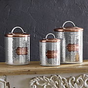 Set of 3 Cucina Hammered Metal Canisters