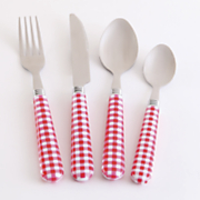 24 pc  gingham flatware with caddy