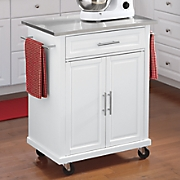 kitchen island cart with stainless steel top