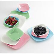 12 pc  retro melamine square dinnerware set