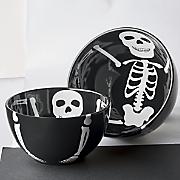 set of 2 spooky skull bowls