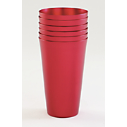 set of 6 red aluminum tumblers