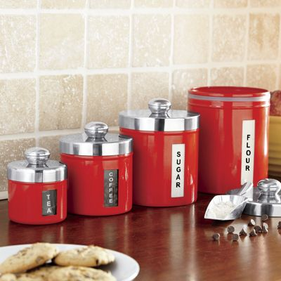 Set of 4 Retro Window Canisters