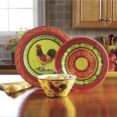 12-Piece Melamine Rooster Dinnerware