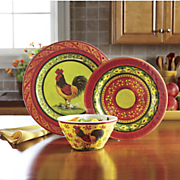 12 pc  melamine rooster dinnerware