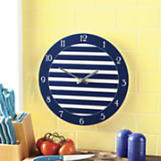 striped glass wall clock