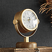 wood   gold table clock