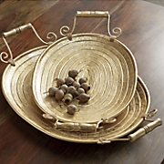 set of 2 gold tree ring trays