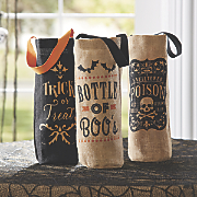 set of 3 halloween burlap wine totes