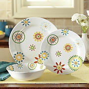 12 pc  floral melamine dinnerware set