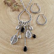 charm drop necklace hoop set