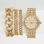 crystal accent watch bracelet set