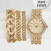 crystal accent watch bracelet set