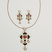 cross necklace earring set
