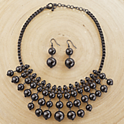 ball drop necklace earring set