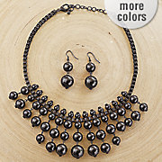 ball drop necklace earring set