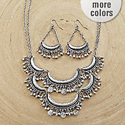 crescent round necklace earring set