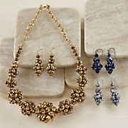 glass bead necklace earring set