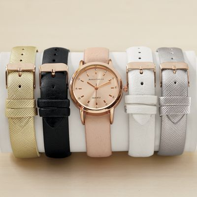 Interchangeable 5-Strap Watch Set