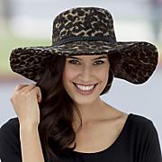 leopard wide trim hat