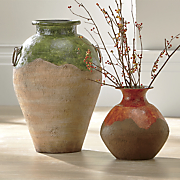 green and red drip vases