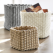 set of 3 cotton rope baskets