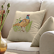 embroidered pheasant pillow