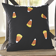 embroidered candy corn pillow