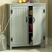 gray beadboard cabinet