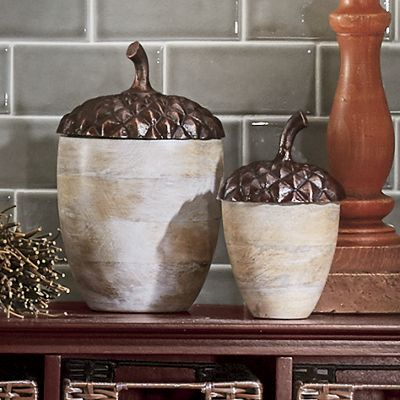 Set of 2 Acorn Canisters