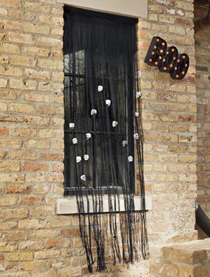 Black Curtain with Skulls
